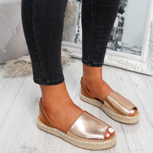Passi Champagne Slingback Flat Sandals