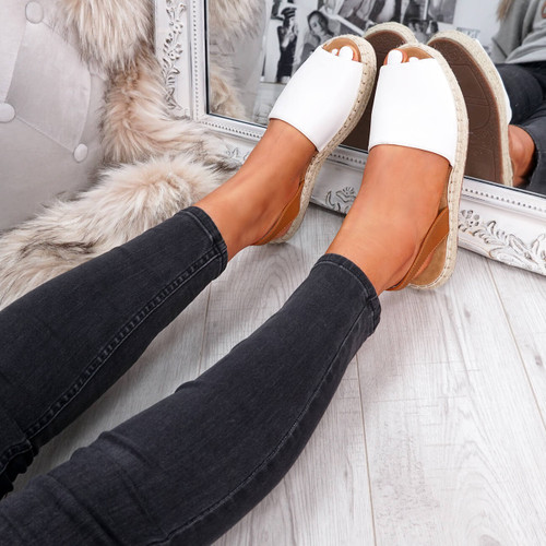 Passi White Slingback Flat Sandals