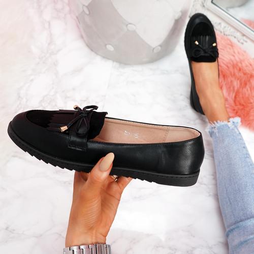 womens ladies fringe slip on flat ballerinas bow black shoes ballet dolly pumps size uk 3 4 5 6 7 8