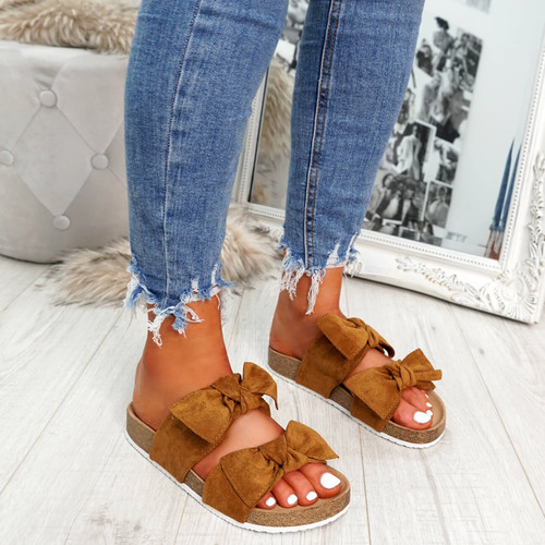 Manny Camel Double Bow Sandals