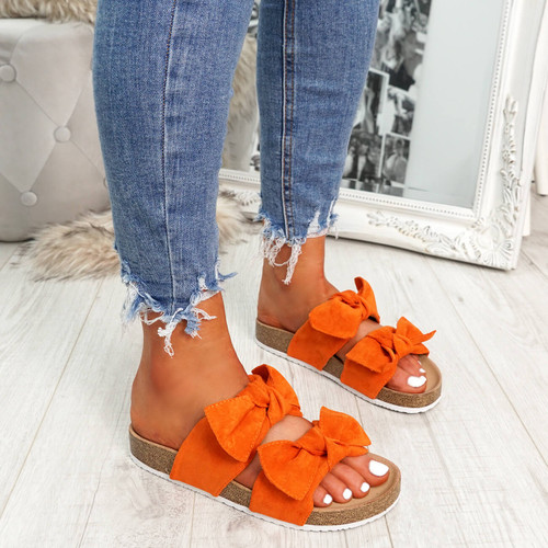 Manny Orange Double Bow Sandals