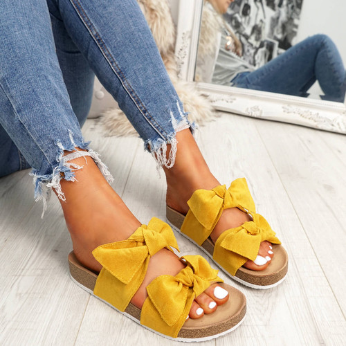 womens ladies flat sandals heels double bow peep toe casual women shoes size uk 3 4 5 6 7 8