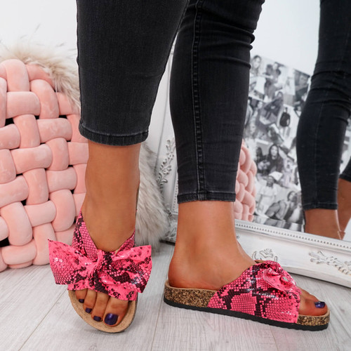 womens ladies flat sandals bow sliders snake pattern women shoes size uk 3 4 5 6 7 8