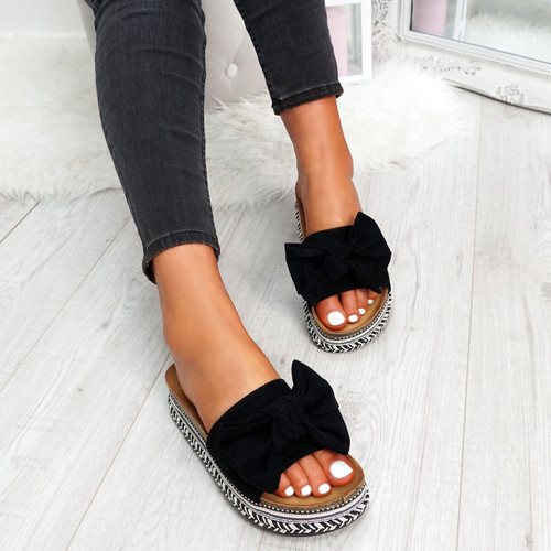 womens ladies peep toe studded sliders flat platform bow flatforms women shoes size uk 3 4 5 6 7 8