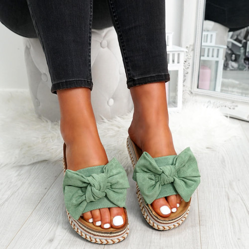 Getty Light Green Bow Flatform Sandals