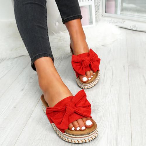 Getty Red Bow Flatform Sandals