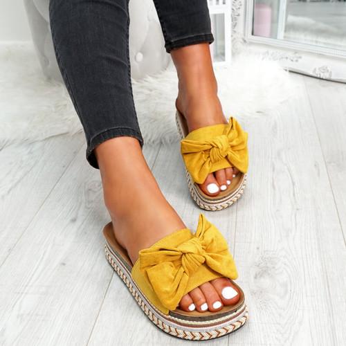 Getty Yellow Bow Flatform Sandals