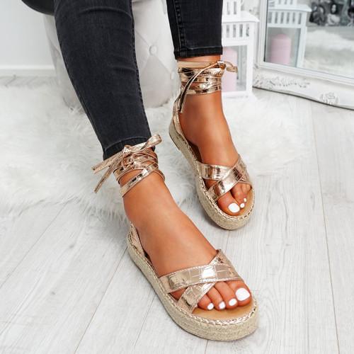 Tevya Champagne Lace Up Flatform Sandals