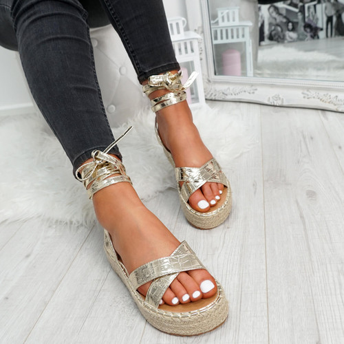 Tevya Light Gold Lace Up Flatform Sandals