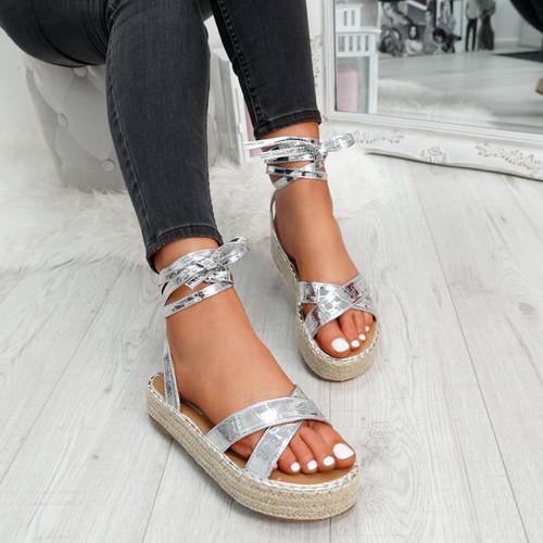 Tevya Silver Lace Up Flatform Sandals