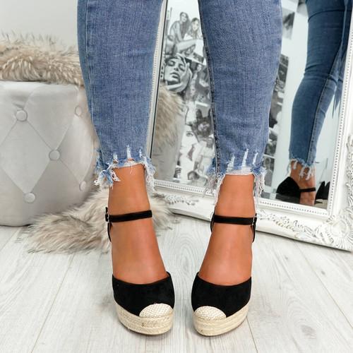 womens ladies ankle strap espadrille wedge platform sandals party women shoes size uk 3 4 5 6 7 8