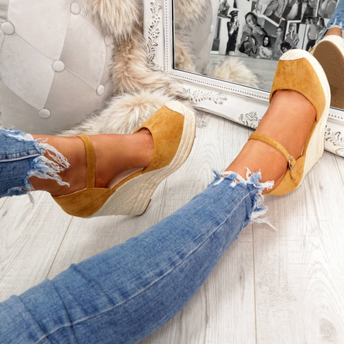 womens ladies ankle strap espadrille wedge platform sandals party women shoes size uk 3 4 5 6 7 8
