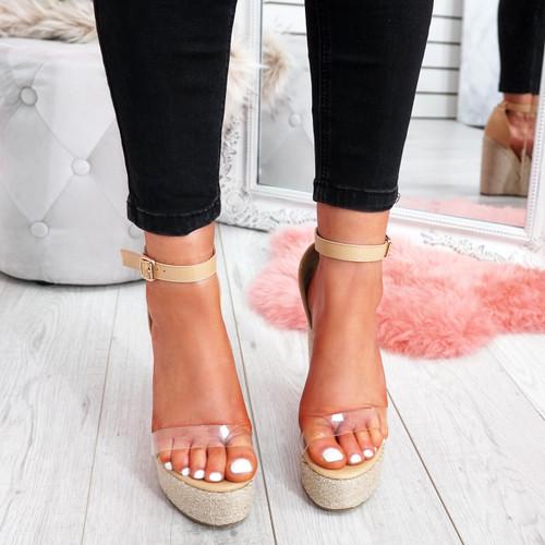 womens ladies ankle strap wedge espadrille platforms peep toe sandals women shoes size uk 3 4 5 6 7 8