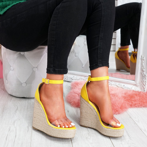womens ladies ankle strap wedge espadrille platforms peep toe sandals women shoes size uk 3 4 5 6 7 8