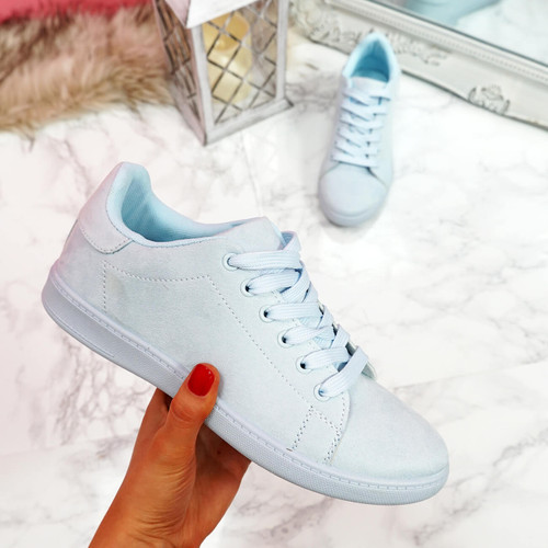 Tedda Light Blue Lace Up Flat Trainers