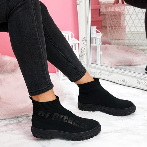 womens ladies chunky sock sneakers party slip on trainers black sporty faux suede shoes size uk 3 4 5 6 7 8