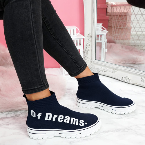womens ladies chunky sock sneakers party slip on trainers navy sporty faux suede shoes size uk 3 4 5 6 7 8