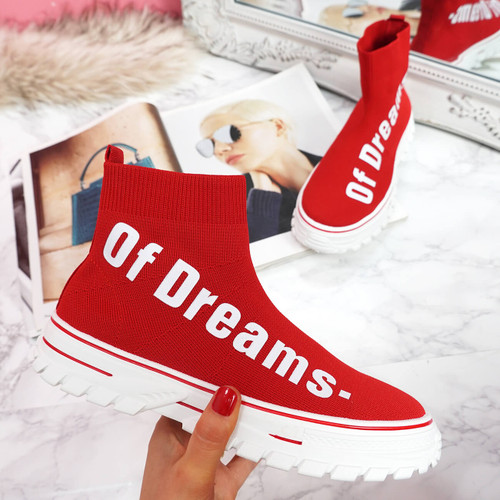 womens ladies chunky sock sneakers party slip on trainers red sporty faux suede shoes size uk 3 4 5 6 7 8