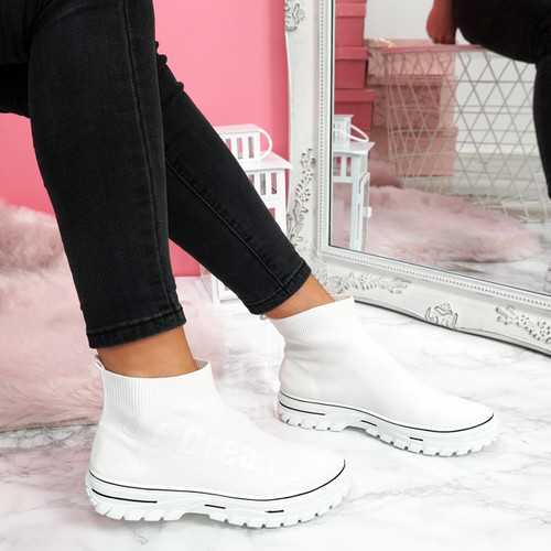 womens ladies chunky sock sneakers party slip on trainers white sporty faux suede shoes size uk 3 4 5 6 7 8