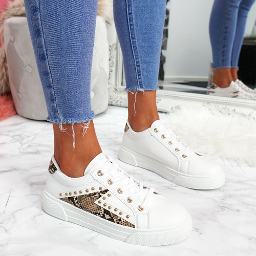 Krilley Beige Snake Trainers
