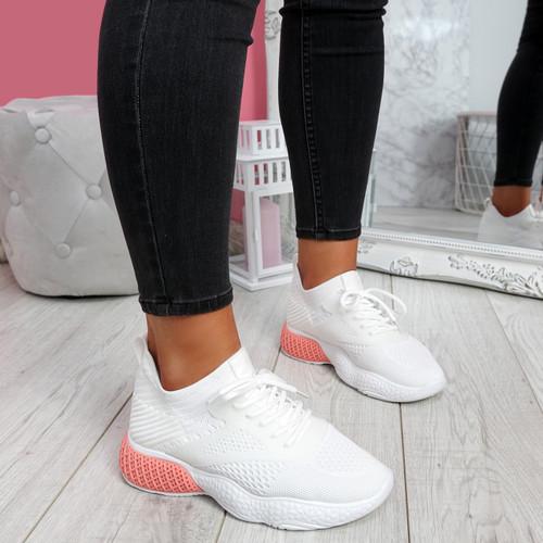 Bya White Pink Running Trainers