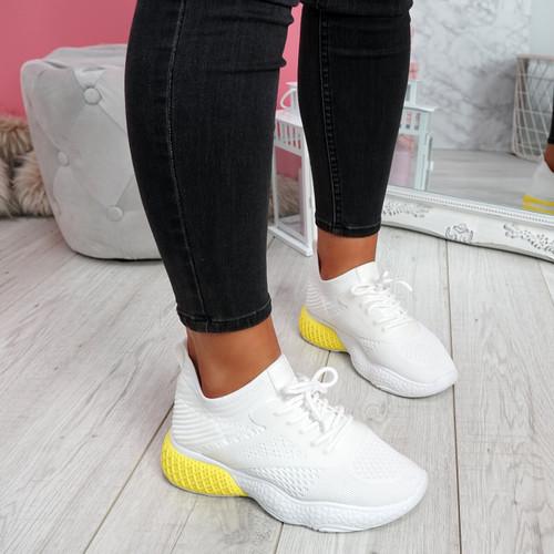 Bya White Yellow Running Trainers