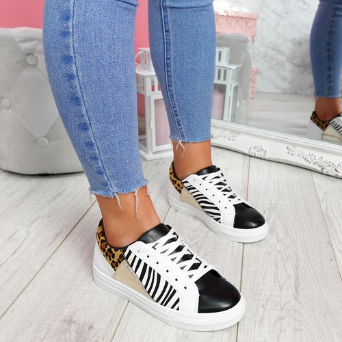 Veya Zebra Lace Up Trainers