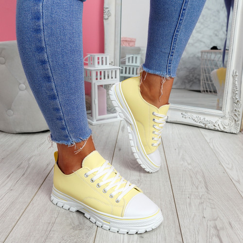 Ledde Yellow Lace Up Trainers