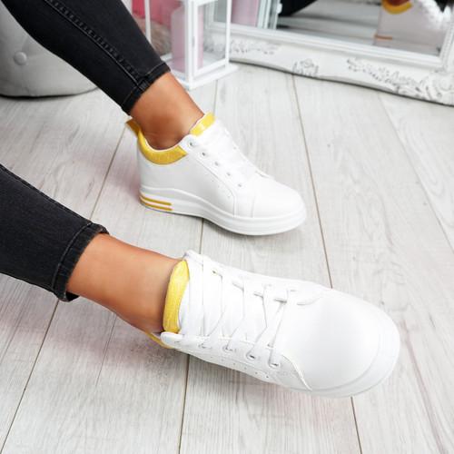Pinna White Yellow Wedge Trainers
