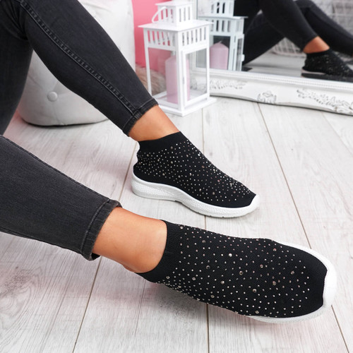 Jutty Black Studded Sock Sneakers