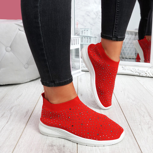 Jutty Red Studded Sock Sneakers
