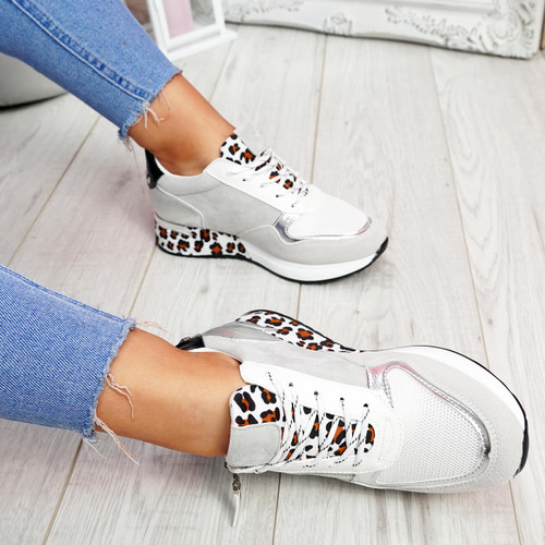 Fidda Grey Lace Up Chunky Sneakers