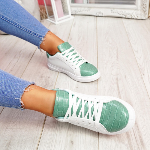 Minna White Green Croc Lace Up Trainers