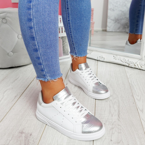 Minna White Silver Croc Lace Up Trainers