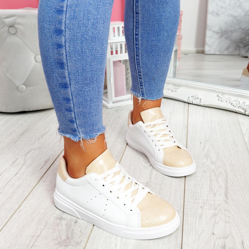 Minna White Pink Croc Lace Up Trainers