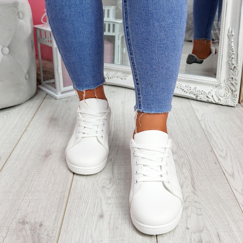 Zowe White Grey Studded Trainers