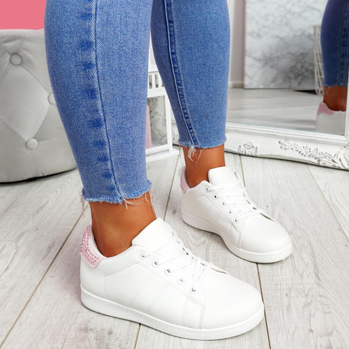 Zowe White Pink Studded Trainers