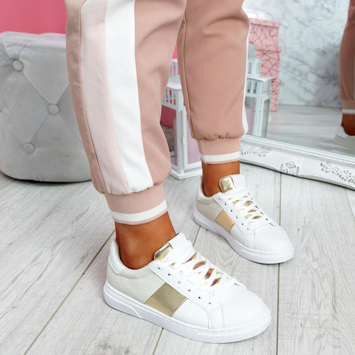 Solly White Beige Trainers