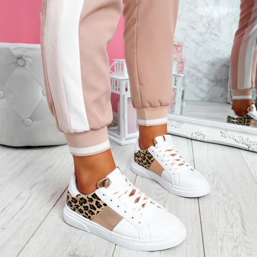 Solly White Leopard Trainers