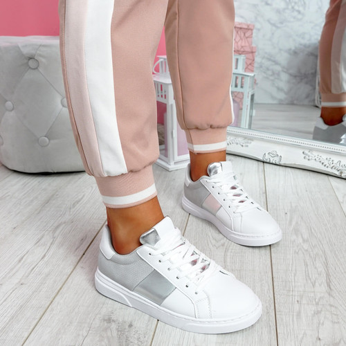 Solly White Grey Trainers