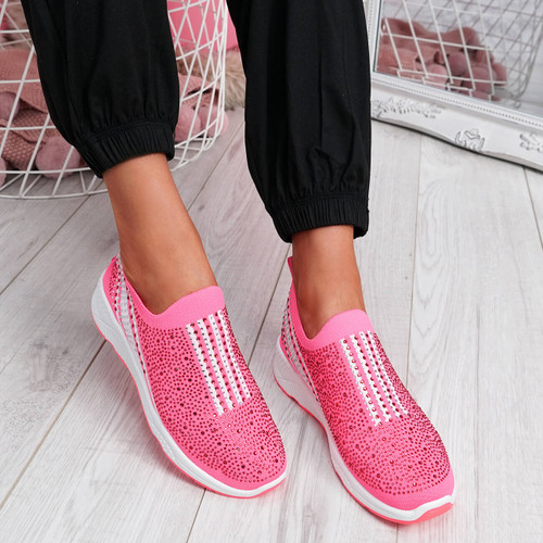 Billy Fuchsia Studded Slip On Trainers