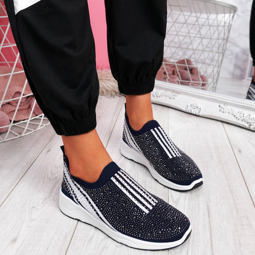 Billy Deep Blue Studded Slip On Trainers
