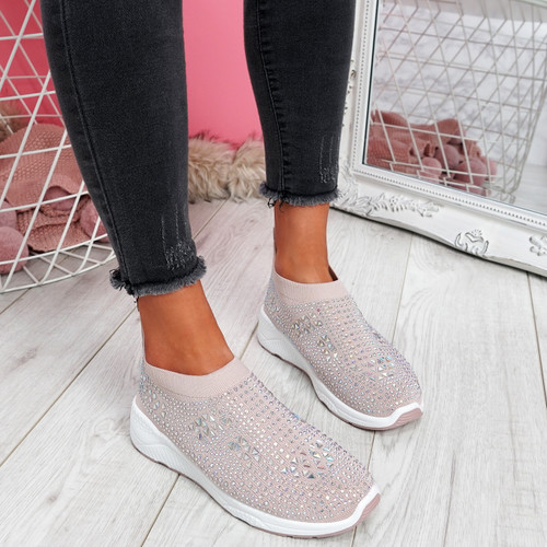 Zippy Apricot Studded Sock Trainers