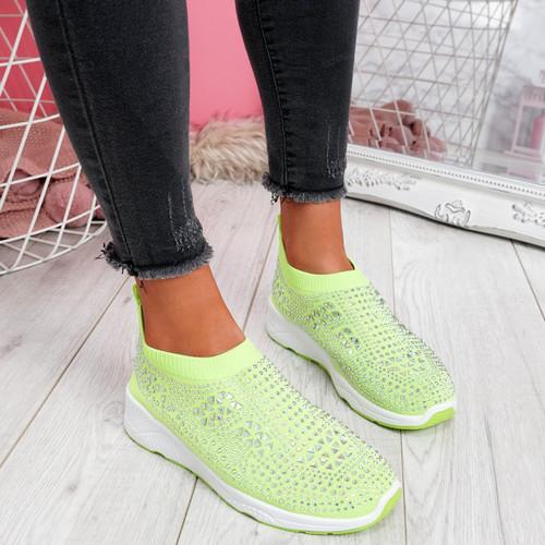 Zippy Green Studded Sock Trainers