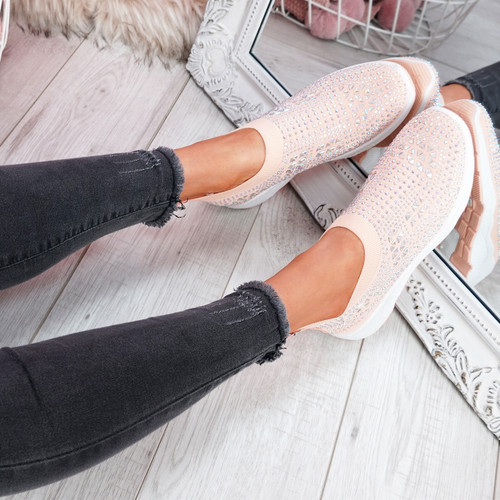 Zippy Pink Studded Sock Trainers