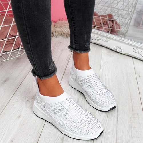 Zippy White Studded Sock Trainers