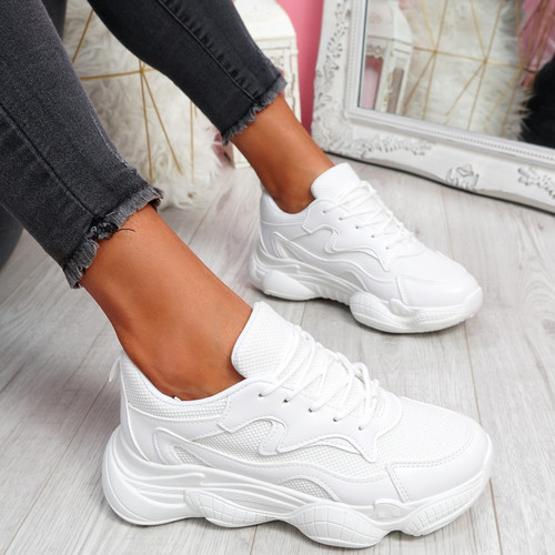 Lilla White Lace Up Chunky Trainers