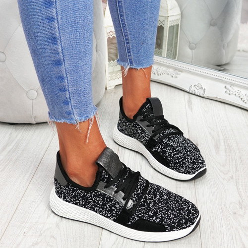 Evy Black Knit Trainers