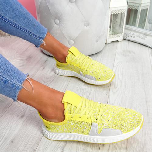 Evy Yellow Knit Trainers