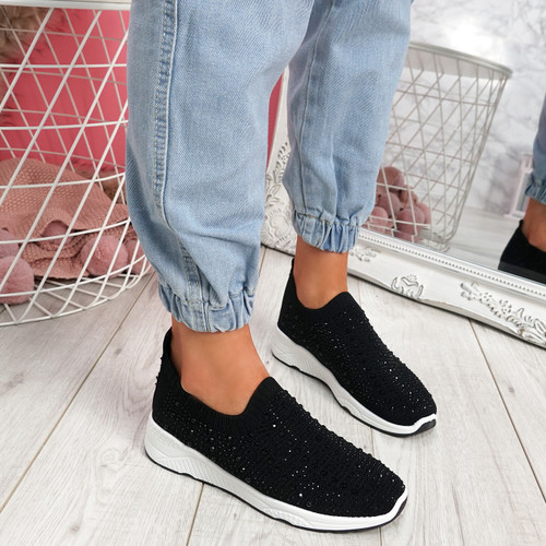 Kenny Black Studded Sock Sneakers